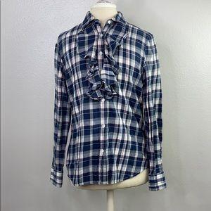 Ralph Lauren blue plaid flannel top, size medium